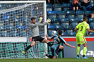Goalkeeper Adam Bartlett of Hartlepool United makes a save from Max Kretzschmar of Wycombe Wanderers. Skybet football league two match, Wycombe Wanderers v Hartlepool Utd at Adams Park in High Wycombe, Bucks on Saturday 5th Sept 2015.<br /> pic by John Patrick Fletcher, Andrew Orchard sports photography.