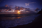 Sunset with wave, Hawaii<br />