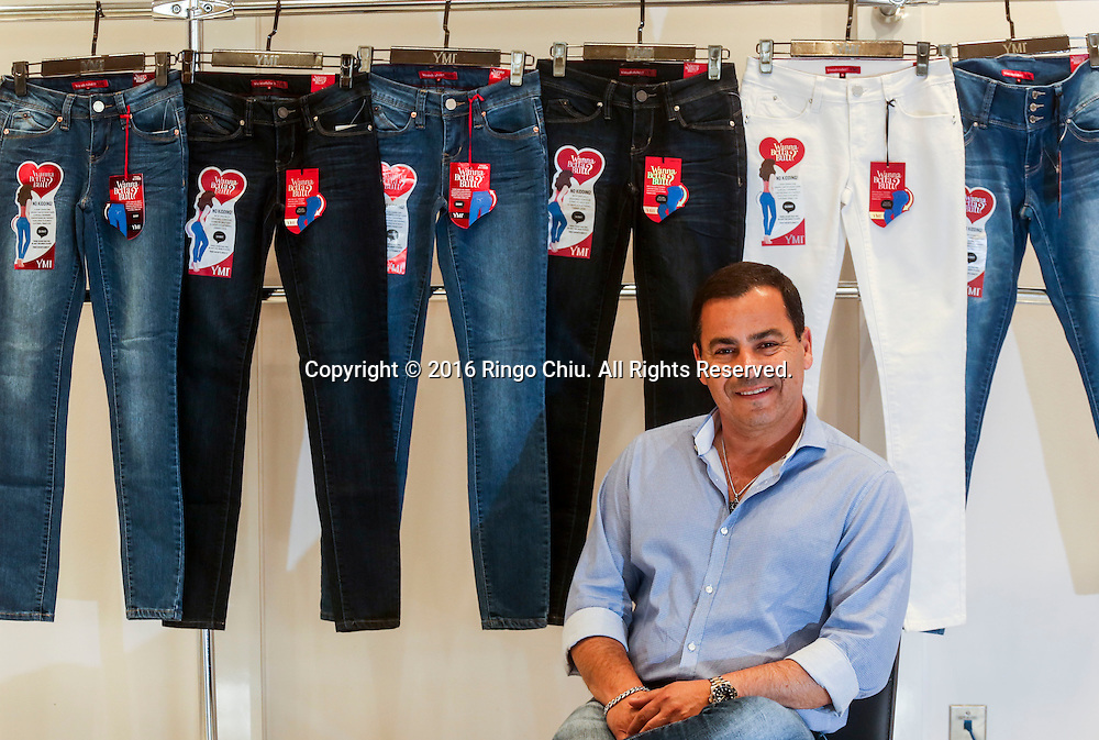 """David Vered, president of YMI Jeans with their jeans line under the name """"Wanna Betta Butt?""""<br /> (Photo by Ringo Chiu/PHOTOFORMULA.com)<br /> <br /> Usage Notes: This content is intended for editorial use only. For other uses, additional clearances may be required."""