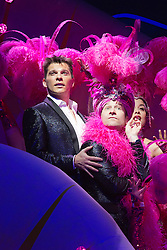 "© Licensed to London News Pictures. 21 March 2014. London, England. Pictured: Nigel Harman as Simon and Billy Carter as Gerrard Smalls. Photocall for the Simon Cowell X-Factor Musical ""I Can't Sing!"" written by Harry Hill and Steve Brown at the London Palladium. Directed by Sean Foley with Nigel Harman as Simon, Victoria Elliott as Jordy and Ashley Knight as Louis. Photo credit: Bettina Strenske/LNP"