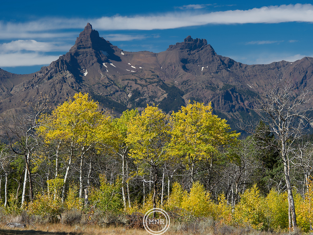 Pilot and Index Peak as seen in the fall from near Lily Lake, Wyoming