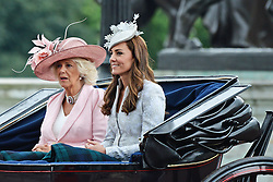 Camilla Duchess of Cornwall; Catherine Duchess of Cambridge,Trooping the Colour, Buckingham Palace, London UK, 14 June 2014, Photo by Mike Webster