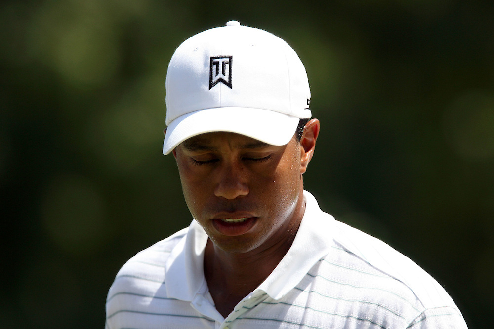 09 August 2007: Tiger Woods reacts after scoring a bogey on the 4th hole during the first round of the 89th PGA Championship at Southern Hills Country Club in Tulsa, OK.
