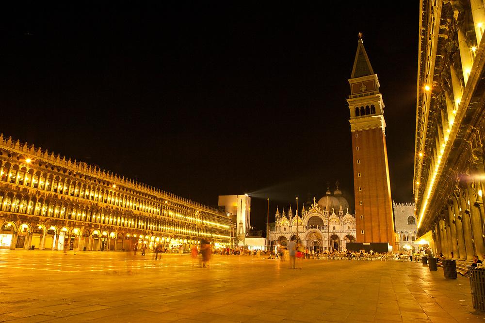 Piazza San Marco illuminated with night lights, Venice, Italy