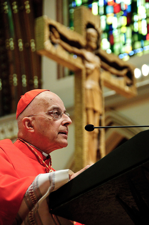 """Chicago Archbishop Francis Cardinal George deliver a homily discussing the importance of the justice system's duties in matters of abortion, gay marriage, and health care law during the he 78th Annual Votive Mass of the Holy Spirit, or """"Red Mass"""" celebrated at Holy Name Cathedral in Chicago. The mass is sponsored by the Catholic Lawyers Guild. September 30, 2012 l Brian J. Morowczynski~ViaPhotos..For use in a single edition of Catholic New World Publications, Archdiocese of Chicago. Further use and/or distribution may be negotiated separately. Contact ViaPhotos at 708-602-0449 or email brian@viaphotos.com."""