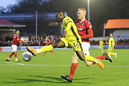 Alex Addai and  Kenny Clark  during the The FA Cup 1st round match between Ebbsfleet and Cheltenham Town at Stonebridge Road, Ebsfleet, United Kingdom on 10 November 2018.