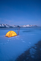 Snow camping along the shores of Lake Tahoe in winter. South Lake Tahoe, CA