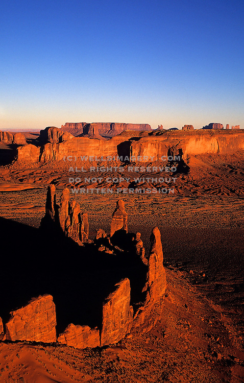 Aerial image of Monument Valley Navajo Tribal Park with Mittens and buttes, Arizona and Utah, American Southwest by Randy Wells