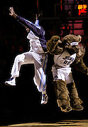 Utah Jazz forward C.J. Miles, left, and the Utah Jazz Bear mascot, right, jump in the air during team introductions before Game 6 of the NBA Western Conference first-round playoff series in Salt Lake City, Friday, April 30, 2010. (AP Photo/Colin E Braley)