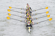 London, Great Britain.<br /> Hampton School I competing in the <br /> 2016 Head of the River Race, Reverse Championship Course Mortlake to Putney. River Thames. Saturday  19/03/2016<br /> <br /> [Mandatory Credit: Peter SPURRIER;Intersport images]