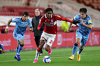 Middlesbrough's Djed Spence battles with Coventry City's Ryan Giles<br /> <br /> Photographer Alex Dodd/CameraSport<br /> <br /> The EFL Sky Bet Championship - Middlesbrough v Coventry City - Tuesday 27th October 2020 - Riverside Stadium - Middlesbrough<br /> <br /> World Copyright © 2020 CameraSport. All rights reserved. 43 Linden Ave. Countesthorpe. Leicester. England. LE8 5PG - Tel: +44 (0) 116 277 4147 - admin@camerasport.com - www.camerasport.com