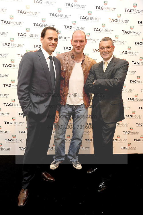 Left to rightm ANTOINE PIN, LAWRENCE DALLAGLIO and JEAN-CHRISTOPHE BABIN at the TAG Heuer British Formula 1 Party at the Mall Galleries, London on 15th September 2008.