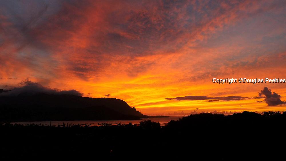 Sunset, Hanalei Bay Lookout, Kauai, Hawaii
