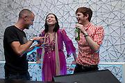 Sophie Ellis Bextor; Richard Jones, Launch of all new Jaguar XJ - Thursday 9th July, Saatchi Gallery. London. 9 July 2009.