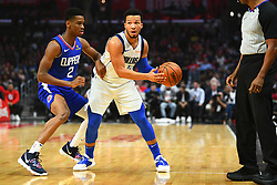 December 21, 2018 - Los Angeles, CA, U.S. - LOS ANGELES, CA - DECEMBER 20: Dallas Mavericks Guard Jalen Brunson (13) is defended by Los Angeles Clippers Guard Shai Gilgeous-Alexander (2) during a NBA game between the Dallas Mavericks and the Los Angeles Clippers on December 20, 2018 at STAPLES Center in Los Angeles, CA. (Photo by Brian Rothmuller/Icon Sportswire) (Credit Image: © Brian Rothmuller/Icon SMI via ZUMA Press)