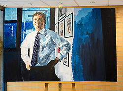 "© Licensed to London News Pictures. 27/06/2014. London, UK. An oil on canvas portrait of Piers Morgan, former editor of the Daily Mirror titled ""Britain's got talent"" in the Alexander Miles Gallery in St Katherine Docks, close to the News UK site in Wapping, East London. Gallery owner and curator Alex Miles says that the anonymous artist is a current and long standing senior member of editorial staff at News UK and that he has painted these portraits of his subjects as he has seen them for many years in the newspaper working environment. The artist, who wishes to remain anonymous at the present time is using a 'nom de plume' of Mark Felt. Photo credit : Vickie Flores/LNP."