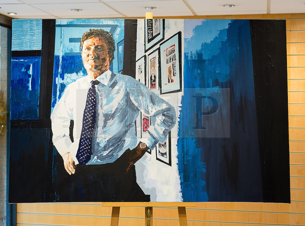 """© Licensed to London News Pictures. 27/06/2014. London, UK. An oil on canvas portrait of Piers Morgan, former editor of the Daily Mirror titled """"Britain's got talent"""" in the Alexander Miles Gallery in St Katherine Docks, close to the News UK site in Wapping, East London. Gallery owner and curator Alex Miles says that the anonymous artist is a current and long standing senior member of editorial staff at News UK and that he has painted these portraits of his subjects as he has seen them for many years in the newspaper working environment. The artist, who wishes to remain anonymous at the present time is using a 'nom de plume' of Mark Felt. Photo credit : Vickie Flores/LNP."""
