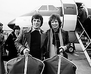 Brothers Jimmy and Tommy Swarbrigg about to depart for Stockholm where they represented Ireland in the Eurovision Song Contest. Their song, 'That's What Friends are For' came 9th in the competition, which was won by the Netherlands' entry, 'Ding-a-Dong'.<br /> 18/03/1975
