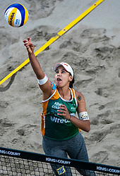 """Eduarda Santos Lisboa """"Duda"""" BRA in action during the last day of the beach volleyball event King of the Court at Jaarbeursplein on September 12, 2020 in Utrecht."""