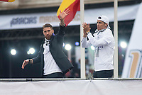 Sergio Ramos and Cristiano Ronaldo during the celebration of the victory of the Real Madrid Champions League at Plaza de Cibeles in Madrid. May 28. 2016. (ALTERPHOTOS/Borja B.Hojas)