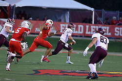 15 October 2016:  Adam Conley pursues Josh Straughan. NCAA FCS Football game between Southern Illinois Salukis and Illinois State Redbirds at Hancock Stadium in Normal IL (Photo by Alan Look)
