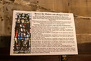 Information panel about Henry de Bohun and Magna Carta, church of Saint James, Trowbridge, Wiltshire, England, UK