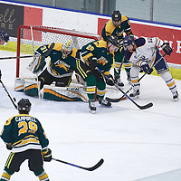 4th year defence man, Landon Peel (28) of the Regina Cougars during the Men's Hockey Home Game on Fri Oct 12 at Co-operators Center. Credit: Arthur Ward/Arthur Images