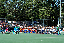 the teams of The Netherlands and Argentina at the line up during the Champions Trophy finale between the Netherlands and Argentina on the fields of BH&BC Breda on Juli 1, 2018 in Breda, the Netherlands.