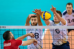 Dardan Lushtaku of Sweden, Jens Ahremark of Sweden in action during the CEV Eurovolley 2021 Qualifiers between Sweden and Croatia at Topsporthall Omnisport on May 15, 2021 in Apeldoorn, Netherlands