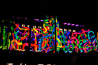 Colourful projection on a building at Vivid Sydney 2017