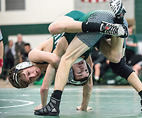 Ryan Zimmerman (left) of Long Branch defeated Raritan's Robert Taddeo in the 113 pound match. Long Branch hosted Raritan in wrestling on Wednesday, January 10, 2018. /Russ DeSantis for the Asbury Park Press