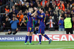 March 14, 2018 - Barcelona, Spain - LIONEL MESSI of FC Barcelona celebrates with JORDI ALBA after scoring his side's third goal during the UEFA Champions League, round of 16, 2nd leg football match between FC Barcelona and Chelsea FC on March 14, 2018 at Camp Nou stadium in Barcelona, Spain (Credit Image: © Manuel Blondeau via ZUMA Wire)