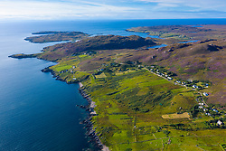 Aerial view of village of Polbain in Coigach , Scottish, Highlands, Scotland, UK