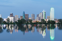 Reflections of downtown Dallas and Trinity River during flood, Dallas, Texas, USA