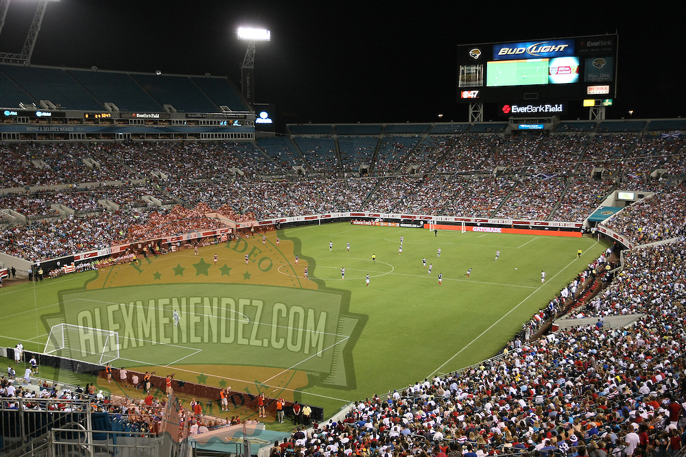 An overview from the end of the stadium during an international friendly soccer match between Scotland and the United States at EverBank Field on Saturday, May 26, 2012 in Jacksonville, Florida.  The United States won the match 5-1 in front of 44,000 fans. (AP Photo/Alex Menendez)