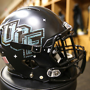 """ORLANDO, FL - OCTOBER 14: A space themed UCF helmet is seen prior to a NCAA football game between the East Carolina Pirates and the UCF Knights at Spectrum Stadium on October 14, 2017 in Orlando, Florida. The """"Space Game"""" Uni's pay tribute to the history during the space race and the fact that UCF has been involved with eight NASA missions, and in 2012, a planet discovered by UCF researchers was named after it. (Photo by Alex Menendez/Getty Images)"""