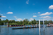 """Henley on Thames, United Kingdom, 22nd June 2018, Friday,   """"Henley Women's Regatta"""",  view, A Heat of the """"Aspirational Academic 8+', gets underway between  """"Oxford Brookes University [A] L"""", and, Bath University R, Henley Reach, River Thames,  Thames Valley, England, © Peter SPURRIER/Alamy Live News"""