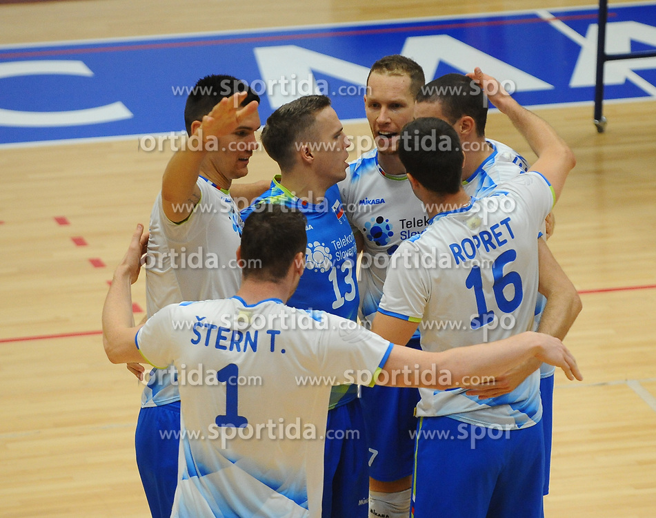 Players of Slovenia celebrate during friendly volleyball match between National teams of Serbia and Slovenia, on August 18, 2017, in Belgrade, Serbia. Photo by Nebojsa Parausic / MN press / Sportida