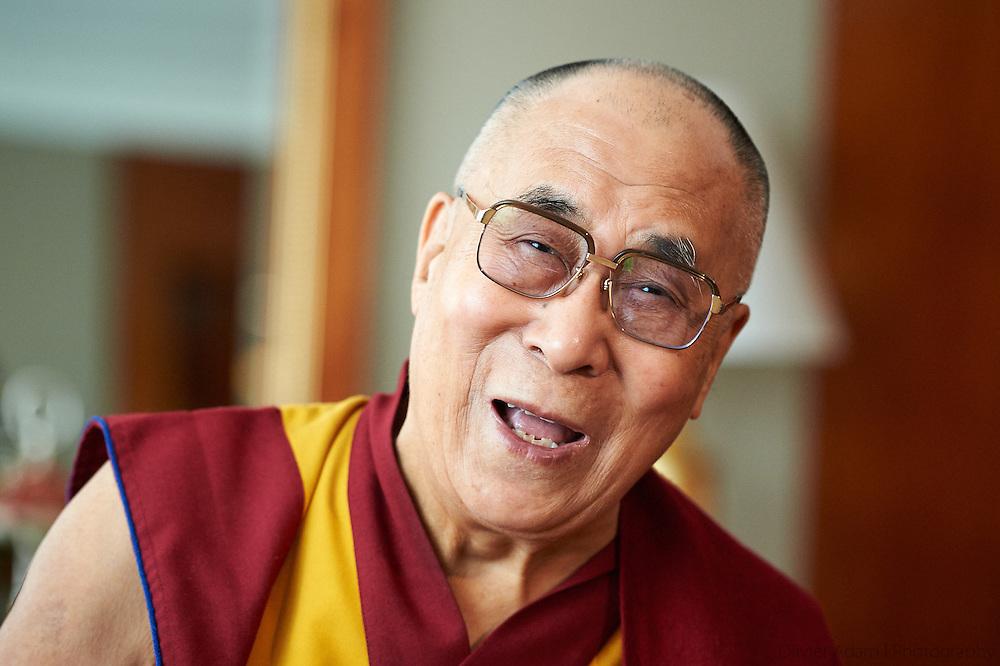 Dalai Lama with journalists in Geneva, Switzerland