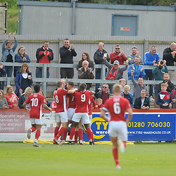 TELFORD COPYRIGHT MIKE SHERIDAN GOAL. Matt Lowe celebrates after scoring to make it 1-0 during the National League North fixture between Brackley Town and AFC Telford United at St James's Park on Saturday, September 7, 2019<br /> <br /> Picture credit: Mike Sheridan<br /> <br /> MS201920-016