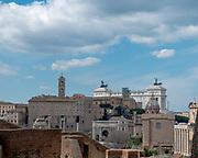 cityscape of Rome, Italy Vittorio Emanuele II Monument at Piazza Venezia in the background
