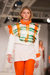 © Licensed to London News Pictures. 31/05/2014. London, England. Collection by Catrina Murphy from Edinburgh College of Art. Graduate Fashion Week 2014, Runway Show at the Old Truman Brewery in London, United Kingdom. Photo credit: Bettina Strenske/LNP
