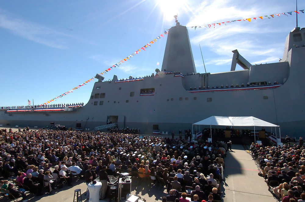 Ingleside, Texas January 14, 2006:  Overall view of the commissioning of the USS San Antonio (LPD-17) Amphibious Transport Dock, the newest San Antonio-class transport ship with state-of-the-art warfare capabilities.  ©Bob Daemmrich /