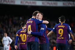 January 30, 2019 - Barcelona, Spain - Ivan Rakitic and Arthur Melo celebration during the match between FC Barcelona and Sevilla FC, corresponding to the secong leg of the 1/4 final of the spanish cup, played at the Camp Nou Stadium, on 30th January 2019, in Barcelona, Spain. Photo: Joan Valls/Urbanandsport /NurPhoto. (Credit Image: © Joan Valls/NurPhoto via ZUMA Press)