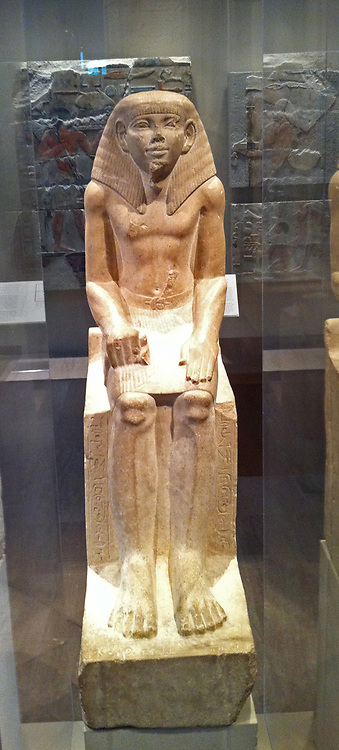 Limestone statue of a steward called Sehetpibreankh. 12th dynasty, Egyptian from the reign of Amememhat II circa 1919-1885 BC