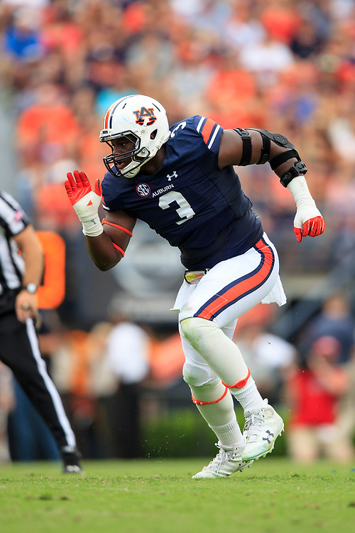 Auburn Tigers defensive lineman Marlon Davidson (3) during an NCAA football game against the Mississippi Rebels, Saturday, October 7, 2017, in Auburn, AL. Auburn won 44-23. (Paul Abell via Abell Images for Chick-fil-A Peach Bowl)