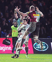 Rugby Union - 2017 / 2018 Aviva Premiership - Harlequins vs. Saracens<br /> <br /> George Merrick and debut boy Renaldo Bothma of Harlequins celebrate at the final whistle  after their winning try in the last minute, at The Stoop.<br /> <br /> COLORSPORT/ANDREW COWIE