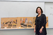 Hempstead, New York, U.S. 12th November 2013.  JANET HAMLIN, a courtroom artist covering the military tribunals at Guantanamo Bay since 2006, shows her drawings and discusses her work at Hofstra University. Much of the time she was the only journalist providing a visual record of the events at the United States naval base in Cuba, and her new book 'Sketching Guantanamo' is a collection of her images.