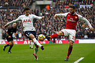 Dele Alli of Tottenham Hotspur (L) in action with Shkordran Mustafi of Arsenal (R). Premier league match, Tottenham Hotspur v Arsenal at Wembley Stadium in London on Saturday 10th February 2018.<br /> pic by Steffan Bowen, Andrew Orchard sports photography.