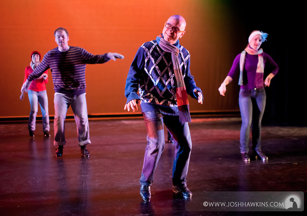 """Chicago Tap Theatre's """"Tidings of Tap"""" performed at UIC Theatre in Chicago, IL on Dec 9-11, 2011..""""Carol of the Bells"""", choreography by Mark Yonally, pictured dancer(s): Jennifer Pfaff Yonally, Rich Ashworth, Mark Yonally, Kirsten Williams,"""